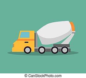 トラック, 建設, デザイン, ミキサー, アイコン