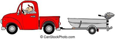 トラック, 引く, ∥, アルミニウム, ボート