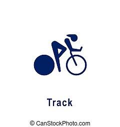 トラック, 新しい, icon., スポーツ, pictogram