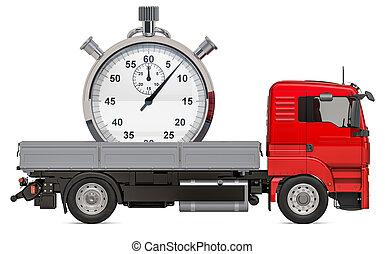 トラック, 概念, 3d, 出産, 速い, stopwatch., レンダリング