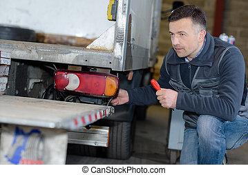 トラック, 機械工, 自動車, 修理