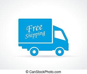 トラック, 無料で, 出荷, アイコン