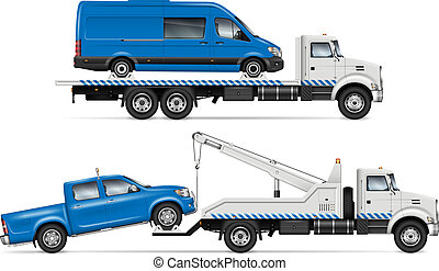 トラック, 牽引, ベクトル, 白, サイド光景