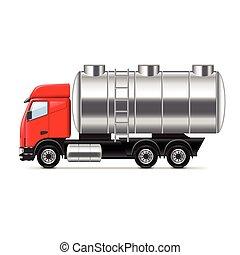 トラック, 白, ベクトル, タンク, 隔離された