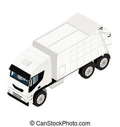 トラック, 白, 隔離された, 背景, ごみ