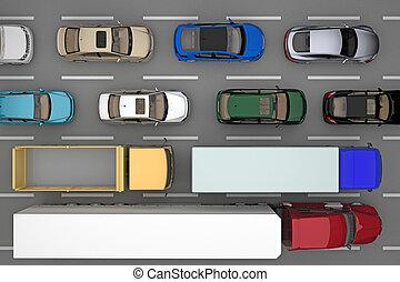 トラック, 自動車, 上, 交通, 背景, 道, 光景