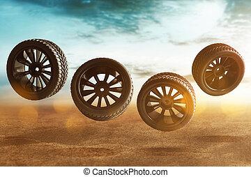 トラック, 自動車, 土, タイヤ