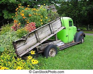 トラック, 荷を積みなさい, の, 花