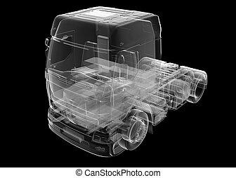 トラック, 貨物自動車, 透明, 隔離された