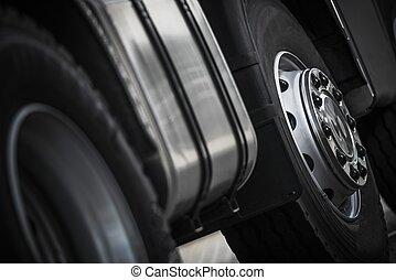 トラック, 車輪, クローズアップ, 半