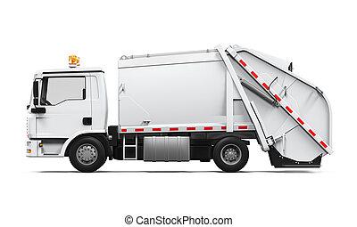 トラック, 隔離された, ごみ