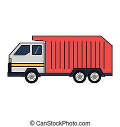 トラック, 隔離された, ごみ, 車