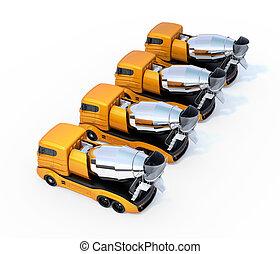 トラック, 隔離された, ミキサー, コンクリート, 背景, 艦隊, 白