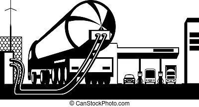 トラック, 駅, ガス, ローディング, タンク