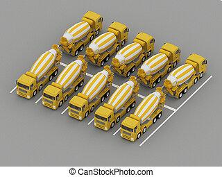 トラック, 駐車, コンクリート, ミキサー