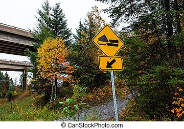 トラック, -, 黄色の符号, スノーモービル, 2/3, 道, 左