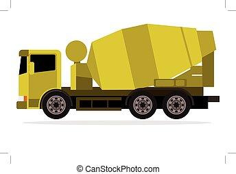 トラック, 黄色, ミキサー