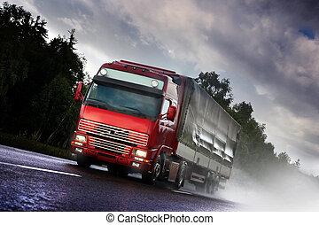 トラック, country-road, 運転