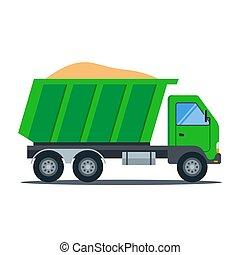 トラック, transport., 建設, 緑, sand.