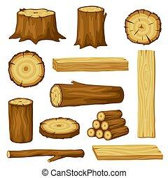 トランクス, 木, 林業, 木材を伐採する, industry., 板, 切り株, セット, イラスト, 製材