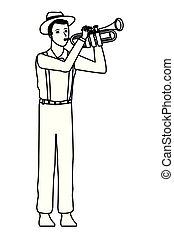 トランペット, 白, 音楽家, 黒, 遊び
