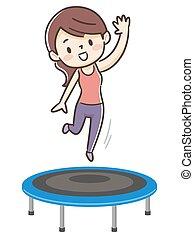 トランポリンの跳躍, 女, 若い