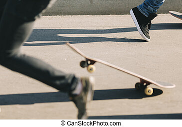 トリック, 男性, スケートボード, 若い