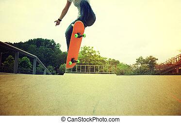 トリック, 足, skateboarder, ollie, skatepark