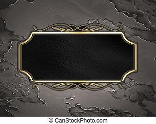 トリム, 金, 金属の印, 黒い背景
