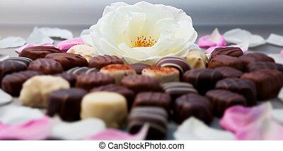 トリュフ, チョコレート, whi, ロマンチック