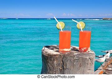 トルコ石, カリブ海, カクテル, 海, オレンジ, 浜