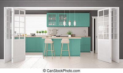 トルコ石, クラシック, 木製である, スカンジナビア人, 詳細, デザイン, minimalistic, 内部, 台所
