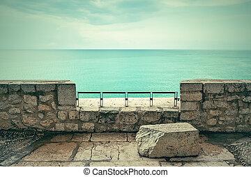 トルコ石, 雲, 上に, 海の 眺め