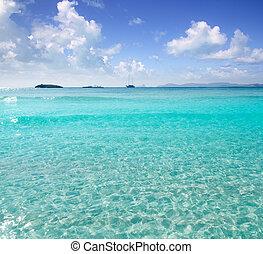 トルコ石, formentera, 地中海, illetas, illetes, 浜