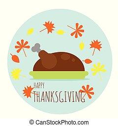 トルコ, プレート, 葉, 感謝祭, 秋, 落ちている, 幸せ