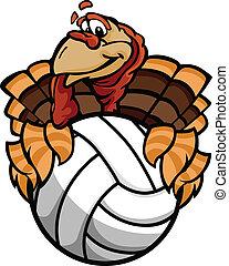 トルコ, ボール, イメージ, 感謝祭, バレーボール, ベクトル, 保有物, 休日, 漫画, 幸せ