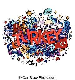 トルコ, レタリング, 要素, 手, バックグラウンド。, doodles