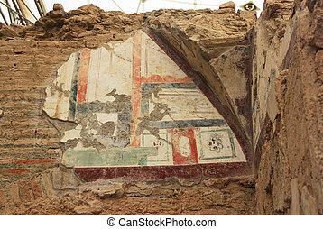 トルコ, 住宅の, 中, 考古学的, 家, ephesus, 台なし