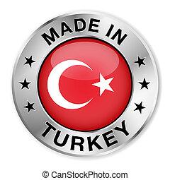 トルコ, 作られた, バッジ, 銀