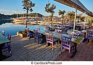 トルコ, 偉人, 海景, レストラン, 地中海, kekova, 光景