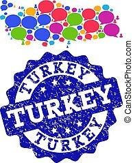 トルコ, 地図, グランジ, ネットワーク, シール, 社会, 泡, 話