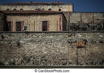 トルコ, 壁, 歴史的, 捨てられた, 刑務所