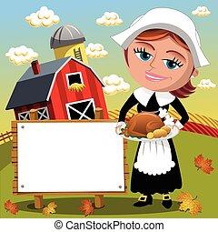 トルコ, 女, 巡礼者, ブランク, 感謝祭, 伝統的である, 焼き肉, 背景, 保有物, 旗, 日
