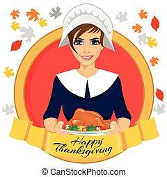 トルコ, 女, 巡礼者, 金, テキスト, 感謝祭, の後ろ, 保有物, 焼かれた, リボン, 幸せ