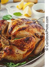 トルコ, 感謝祭, 焼かれた, クリスマス。, 鶏, そっくりそのまま, ∥あるいは∥