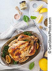 トルコ, 手製, そっくりそのまま, chicken., 詰められる, 焼かれた, ∥あるいは∥