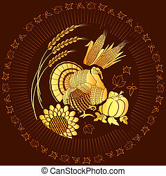 トルコ, 葉書, .vector, 感謝祭, 背景