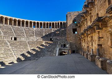 トルコ, antalya, 古い, aspendos, 円形劇場