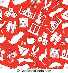 トルコ, eps10, 国, seamless, シンボル, 主題, パターン, 赤