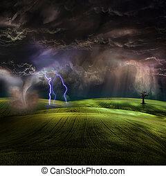 トルネード, 嵐である, 風景